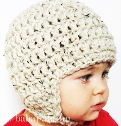 Etsy :: babaialainn :: Oatmeal Chunky Earflap Beanie with Chinstrap...Up to 6 Months