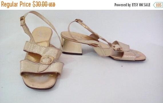 summer sale Vintage sandals shoes 60s Starlight Room gold sandals size UK 4 EU 37 US 6