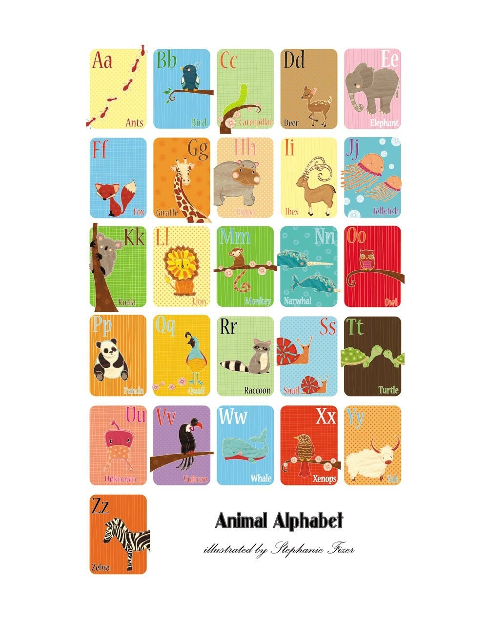 Animal Alphabet Large Limited Edition Print
