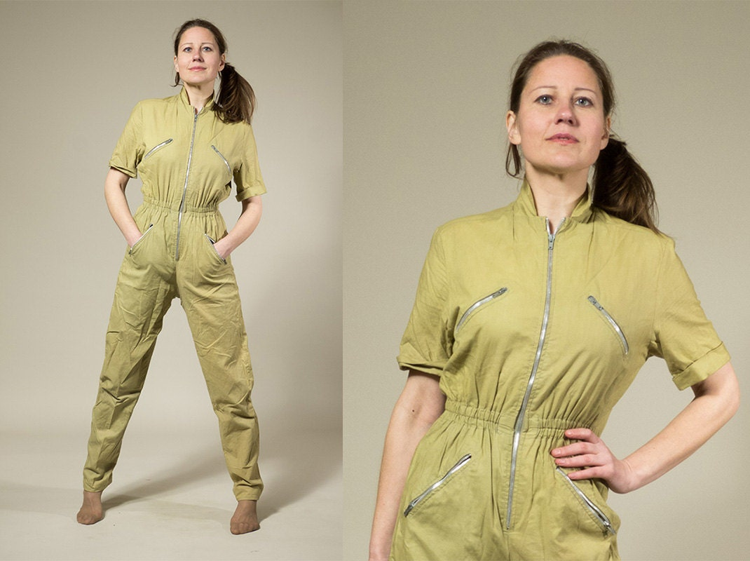 RESERVED Womens Jumpsuit Coverall Cotton Khaki By Vintagecode