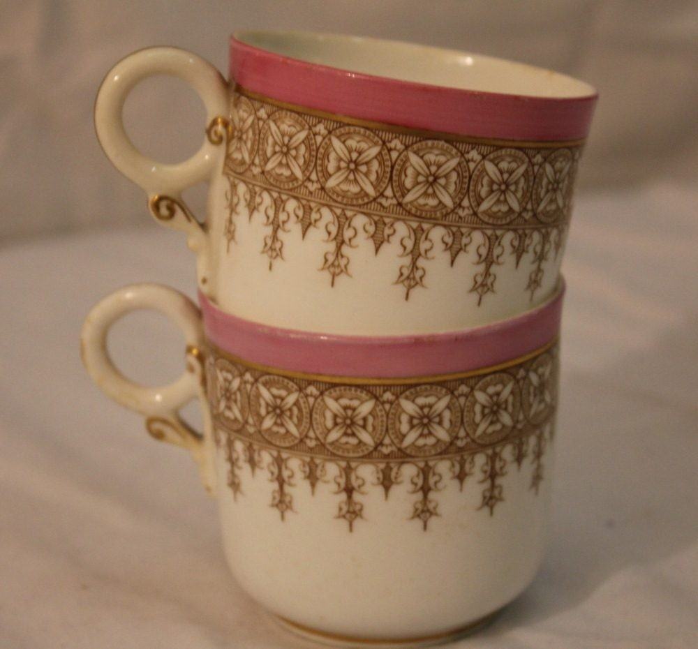 2  1960s Vintage Teacups - Pink, Cream, and Gold