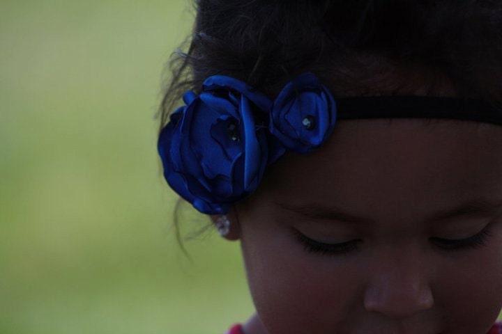 Blue Satin Rosette & Rhinestone Headband