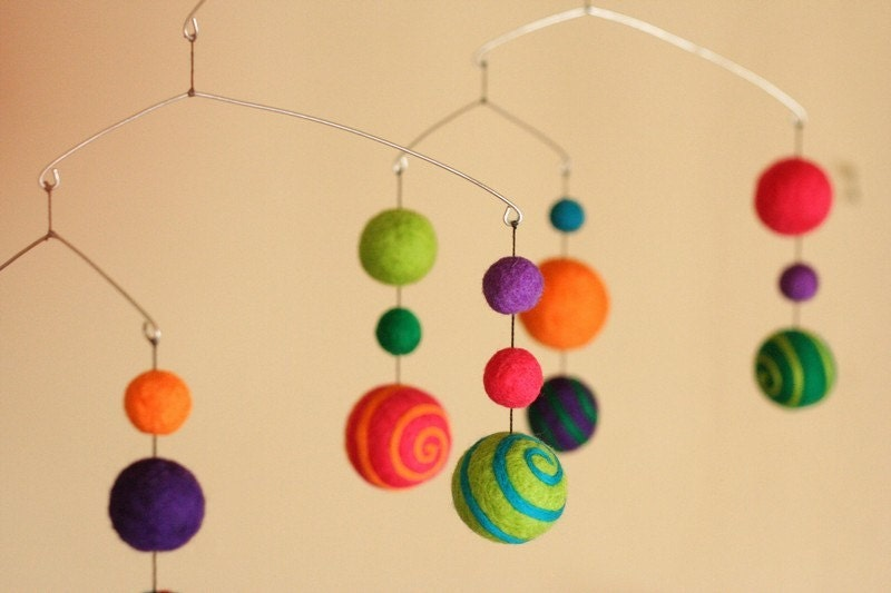 Circus Came to Town - Felted Wool Mobile - Eco Friendly - Natural - Baby