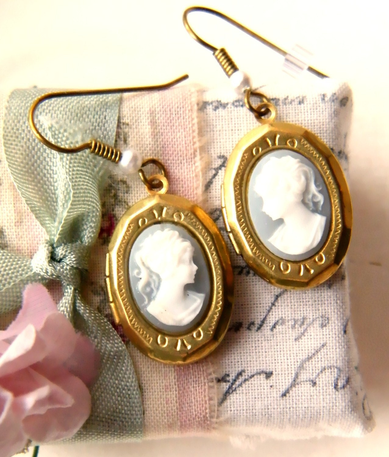 Blythe. vintage locket earrings