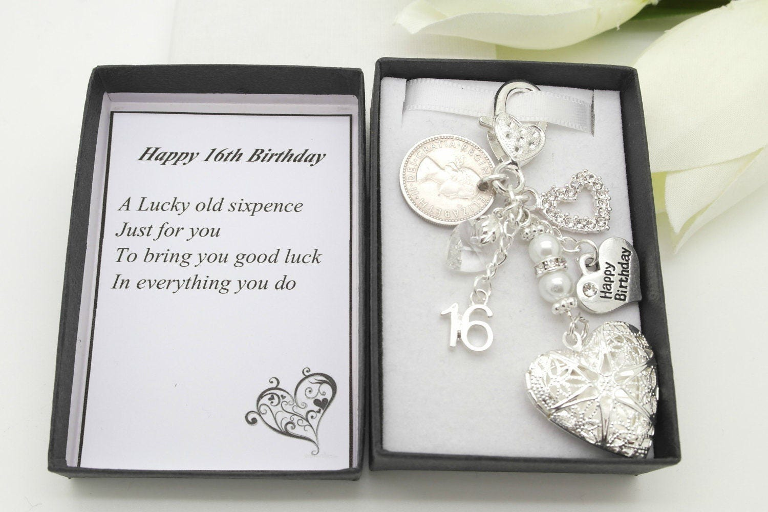 Personalised happy 16th birthday gift. Clear heart locket lucky sixpence charm keyring  gift box choice of heart and number charm
