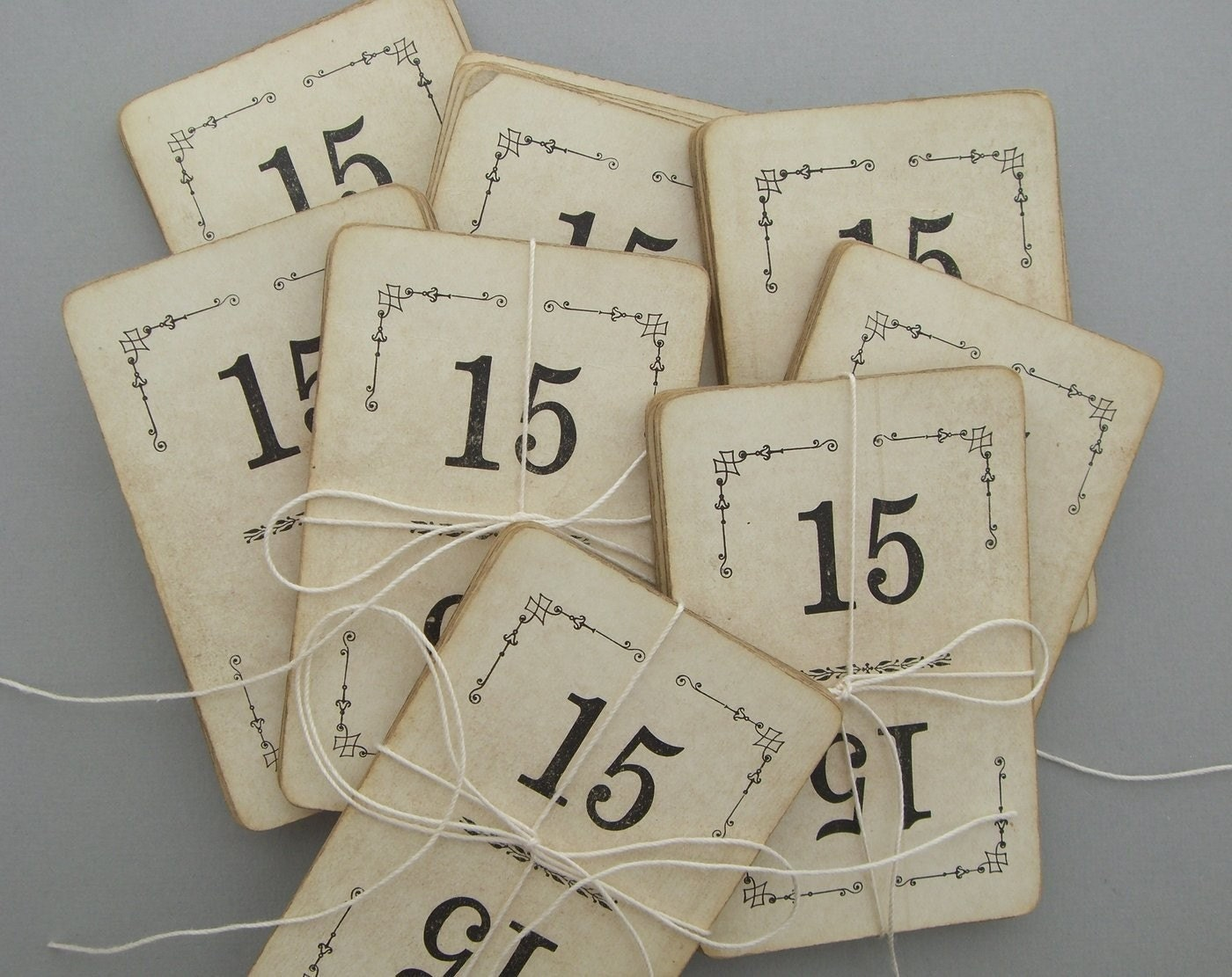 DOUBLE SET- Vintage Number Cards, set of 30