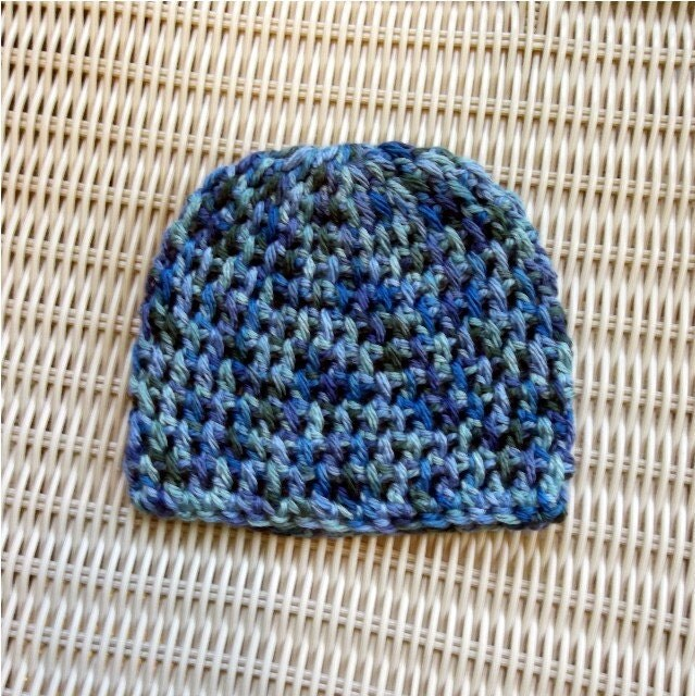 Crocheted Newborn Beanie, Blues, Greens, Photo Prop, Shower Gift