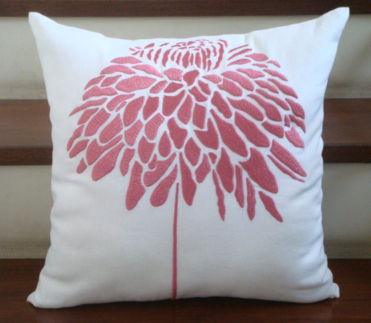 Peony  FLower Embroidery Pillow Cover in Coral Pink - White  fabric