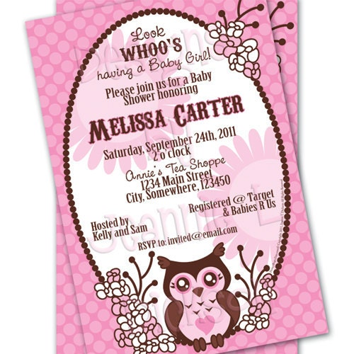 Owl Invitation Baby Shower Birthday Custom Printable by HoneyBops