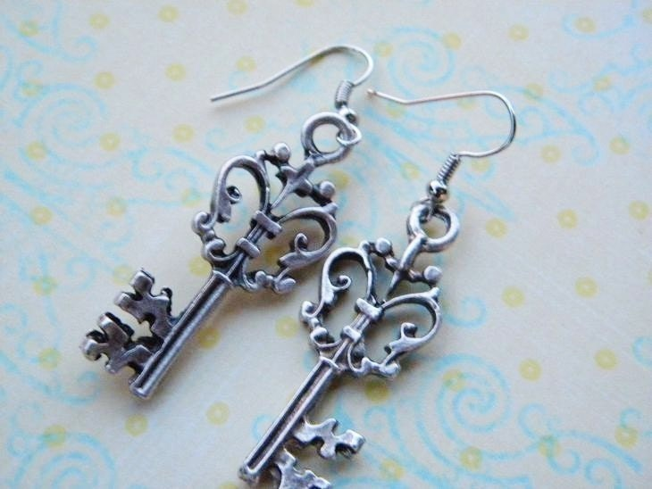 Antiqued Silver Key Charm Earrings