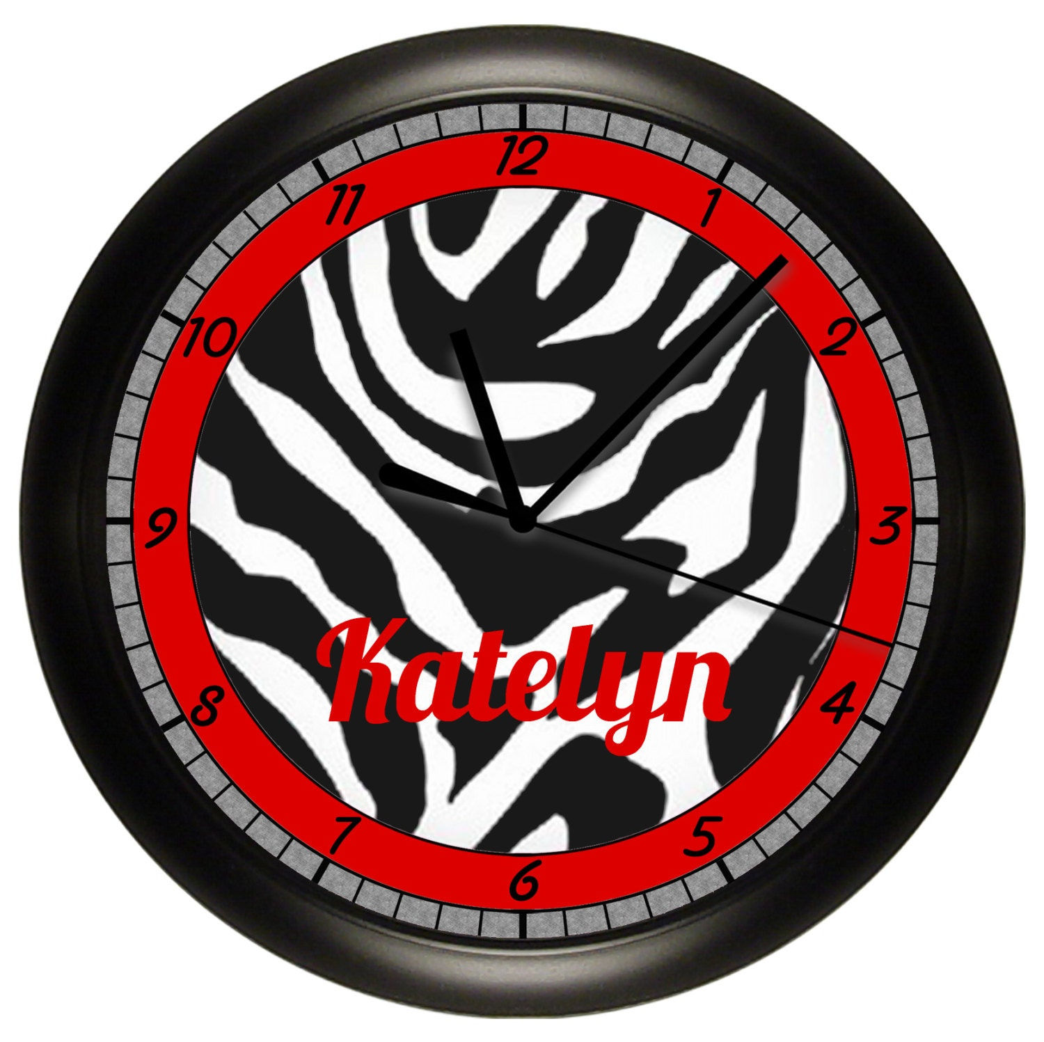 Personalized red and black zebra print wall clock by for Red and black wall clock