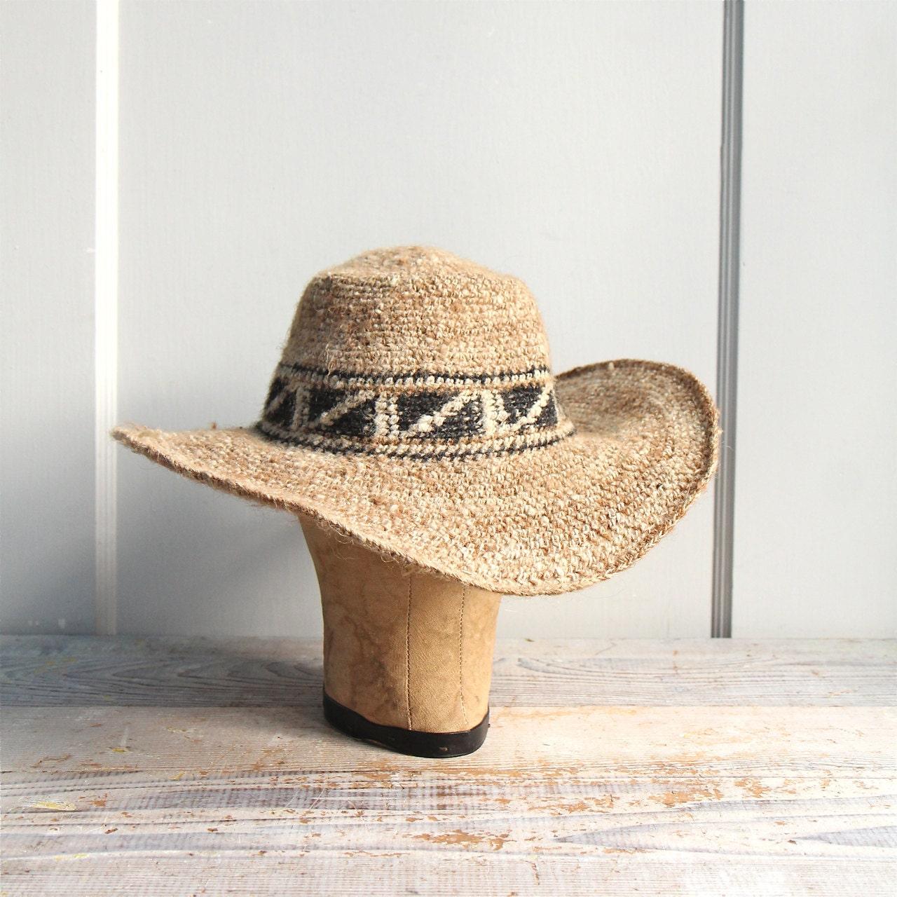 Vintage Woven Wide Brimmed Hat /  Unisex