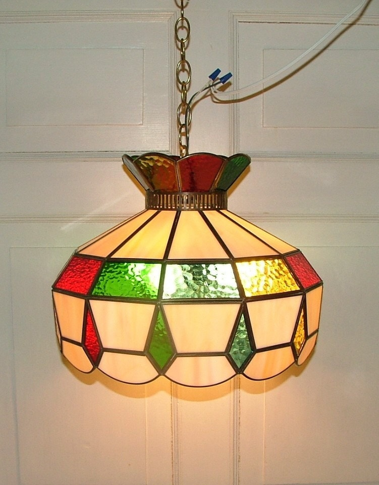 Stained Glass Pendant Shade Hanging Ceiling Light By