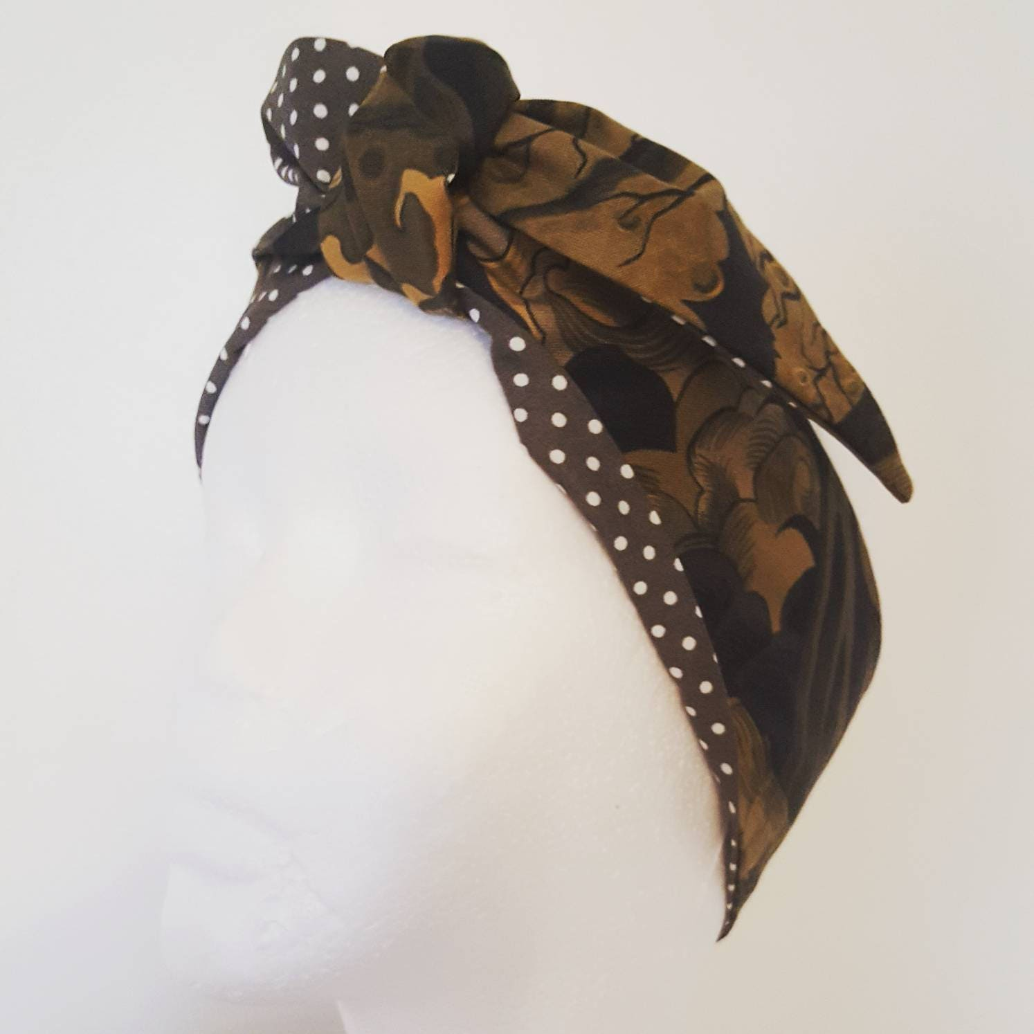 Haunted house print hair tie Rockabilly hair Vintage head wrap Rockabilly Accessories Retro Bandana 1950s headscarf. Goth hairband