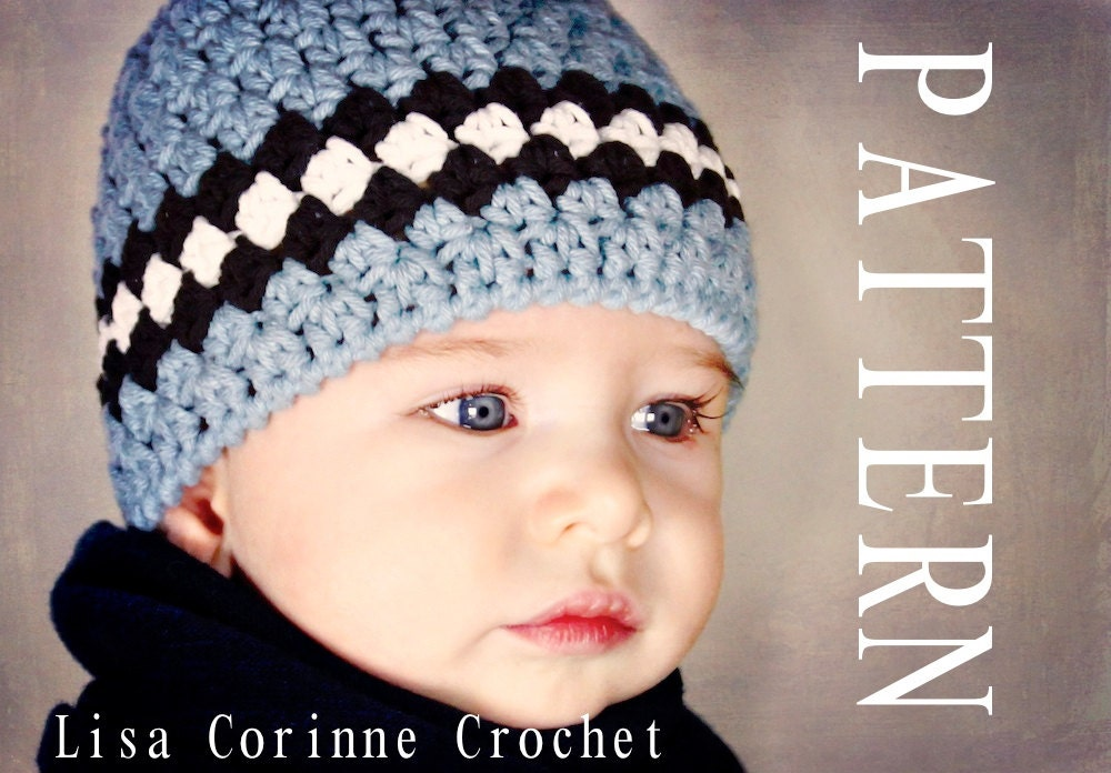 Baby Boy Hat Pattern Striped Beanie Cap Crocheted PDF Easy Modern Crochet Infant Hat Baby Fashion
