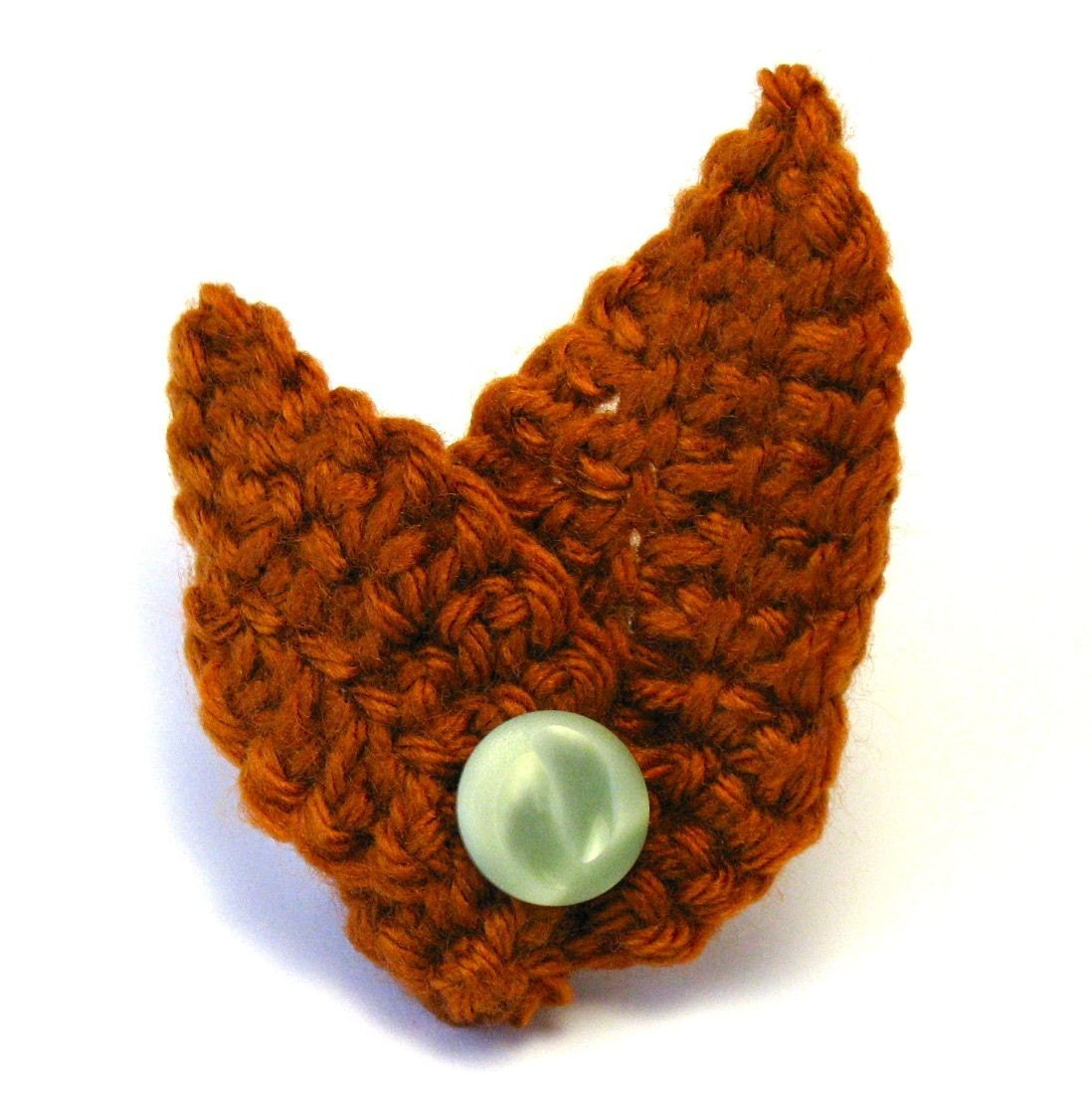 Crocheted Cozy Leaf Pin, Pumpkin with Vintage Green Button
