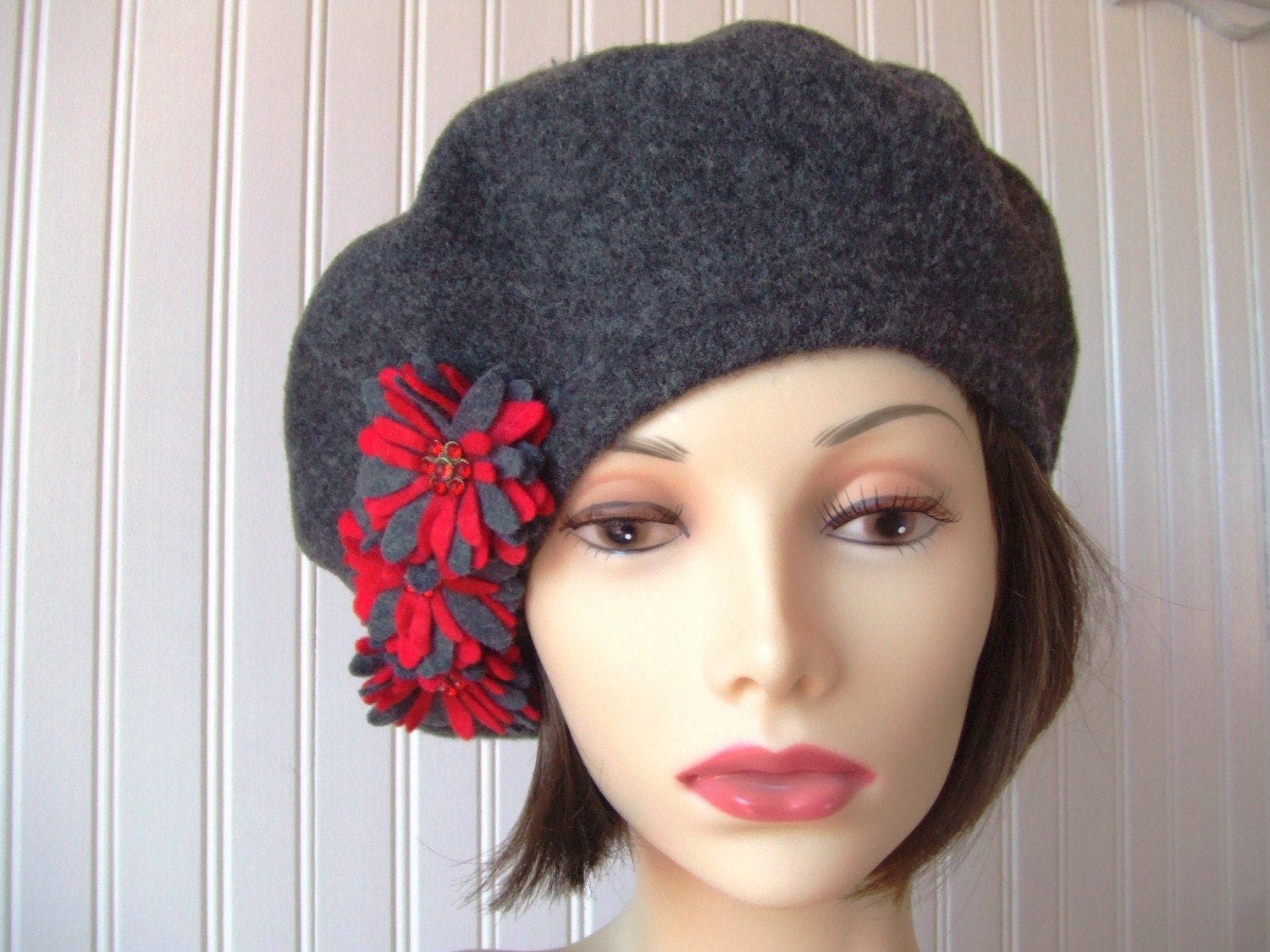 Charcoal Grey Wool Beret with Ruby Red Flower Brooches