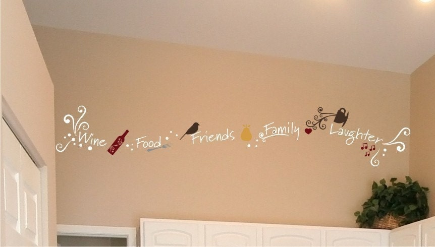 Wine Family Friends Food Laughter - Vinyl Wall Words Decals Stickers Art Graphics