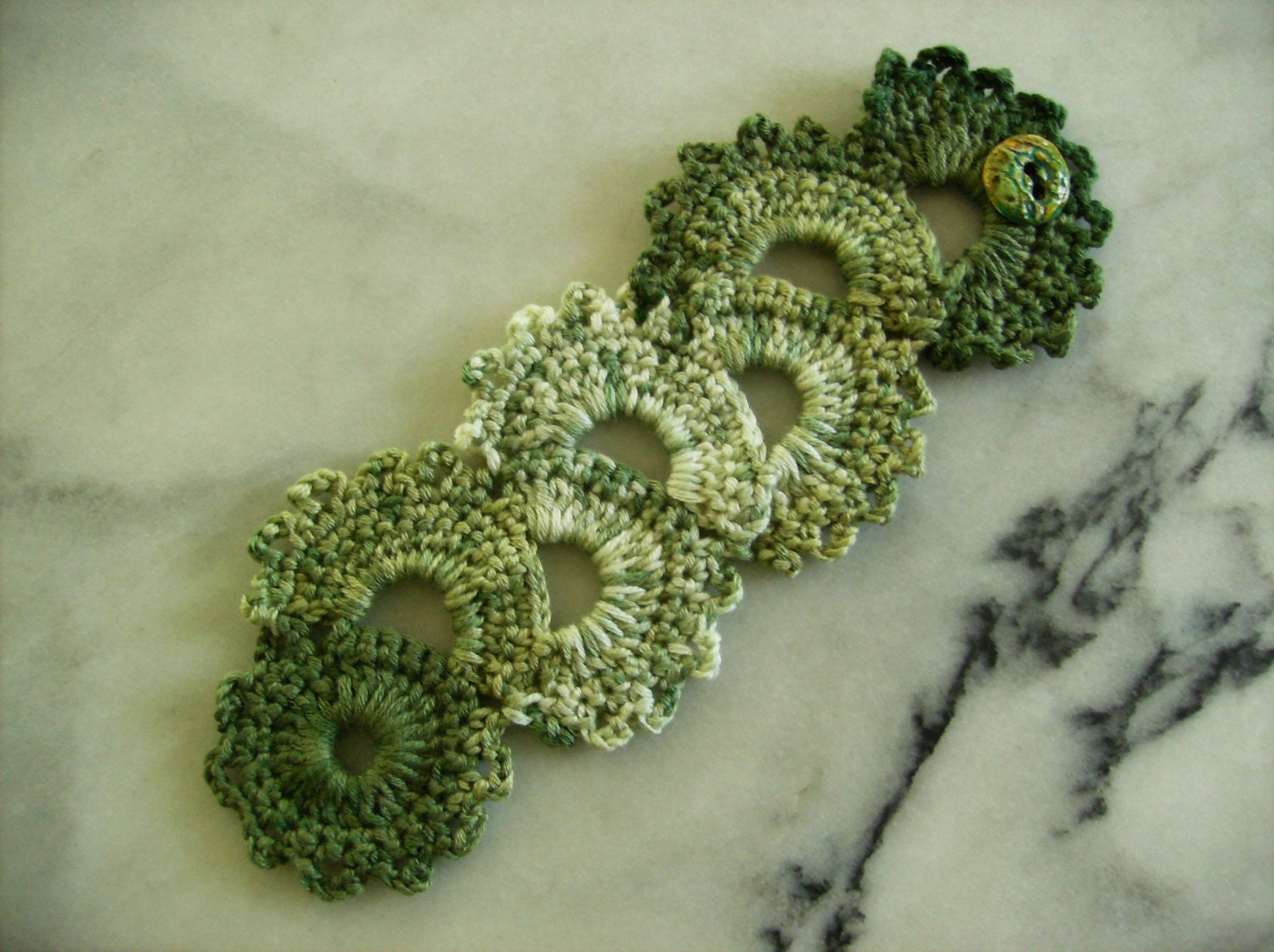 Connemara Green Crochet Lace Bracelet Cuff with Custom Handmade Button