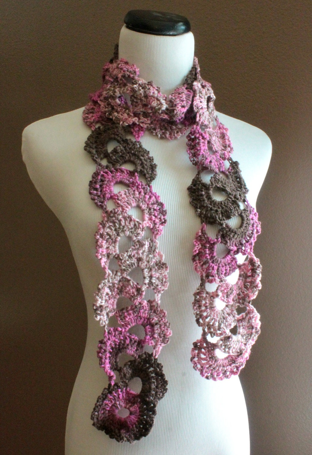 Crochet Scarf Queen Annes Lace Scarf Ombre Scarf Varigated Multicolor ...