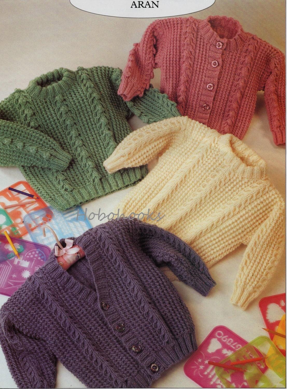 Baby Knitting Pattern Childs Knitting Pattern aran jumper aran sweater aran cardigans 2026inches ARAN knitting pattern PDF instant download