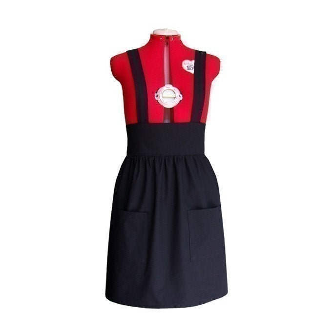 Black pinafore dress