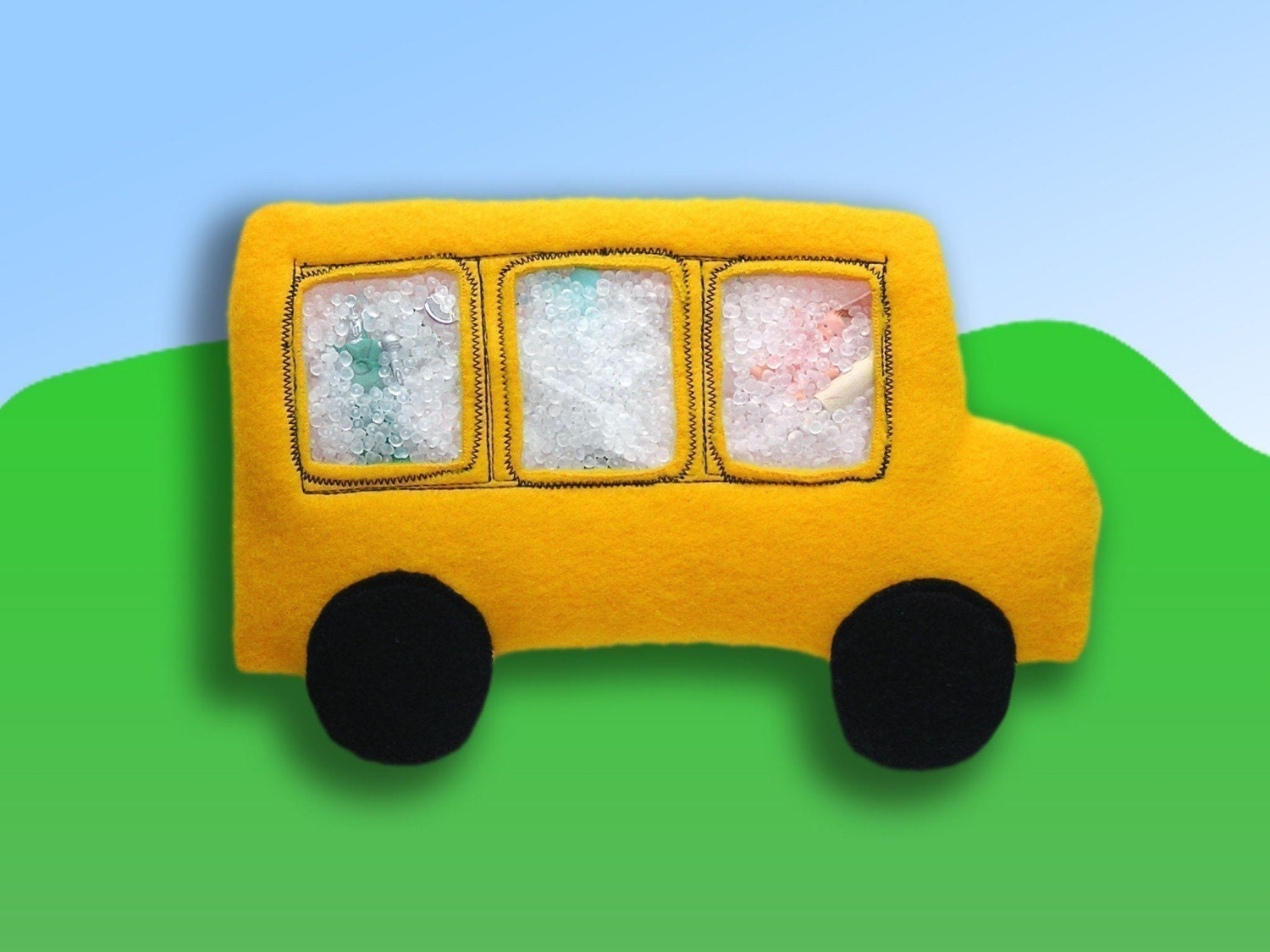 School Bus I Spy Bag - The wheels on the bus go round and round designed for children who love the school bus whether they are old enough to ride or not