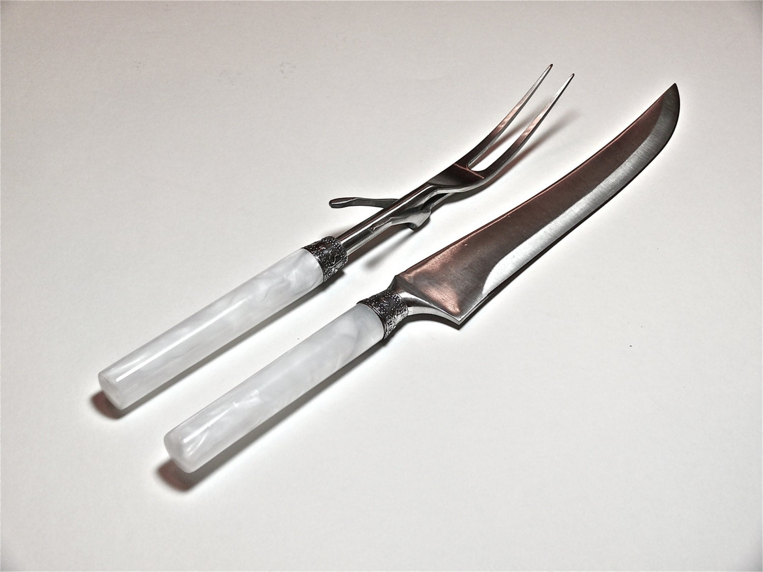 white handmade kitchen cutlery knife and fork by