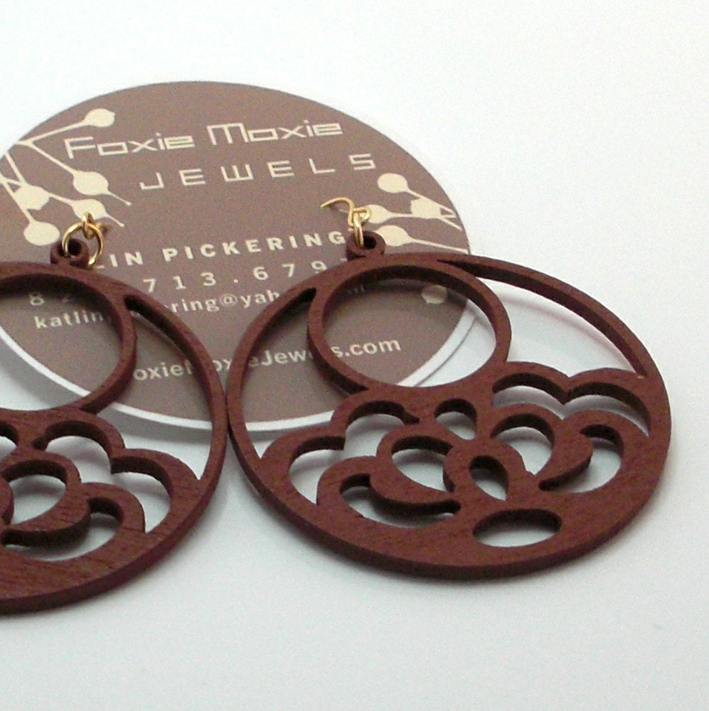 Wood Hoop Earrings Available in Chestnut, Black, Navy, Orange, Pink, White and Yellow Women Earrings