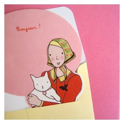 paper doll card - bonjour