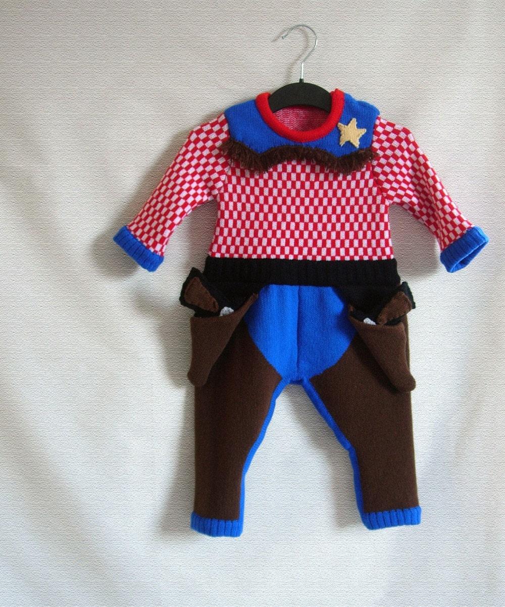 Handmade Knitted Cowboy Babygrow