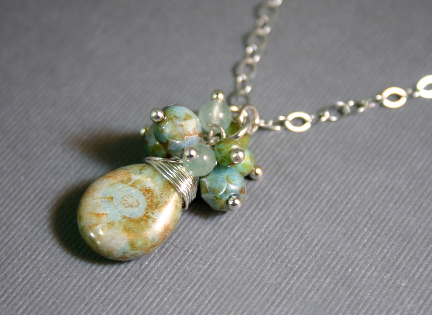 Teardrop Necklace with Czech Beads and Sterling Silver