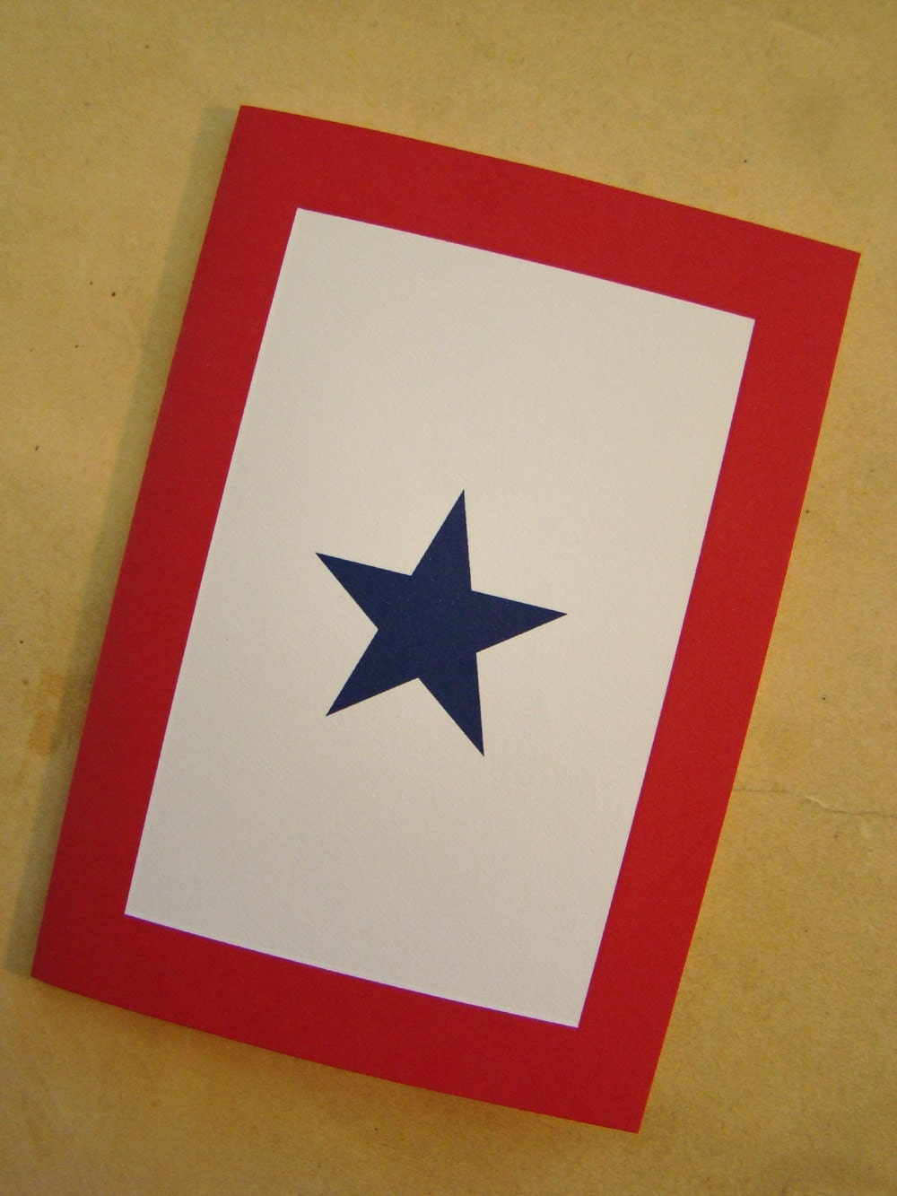 Set of 6 - Blue Star Service Flag Blank Note Cards - Patriotic Papers