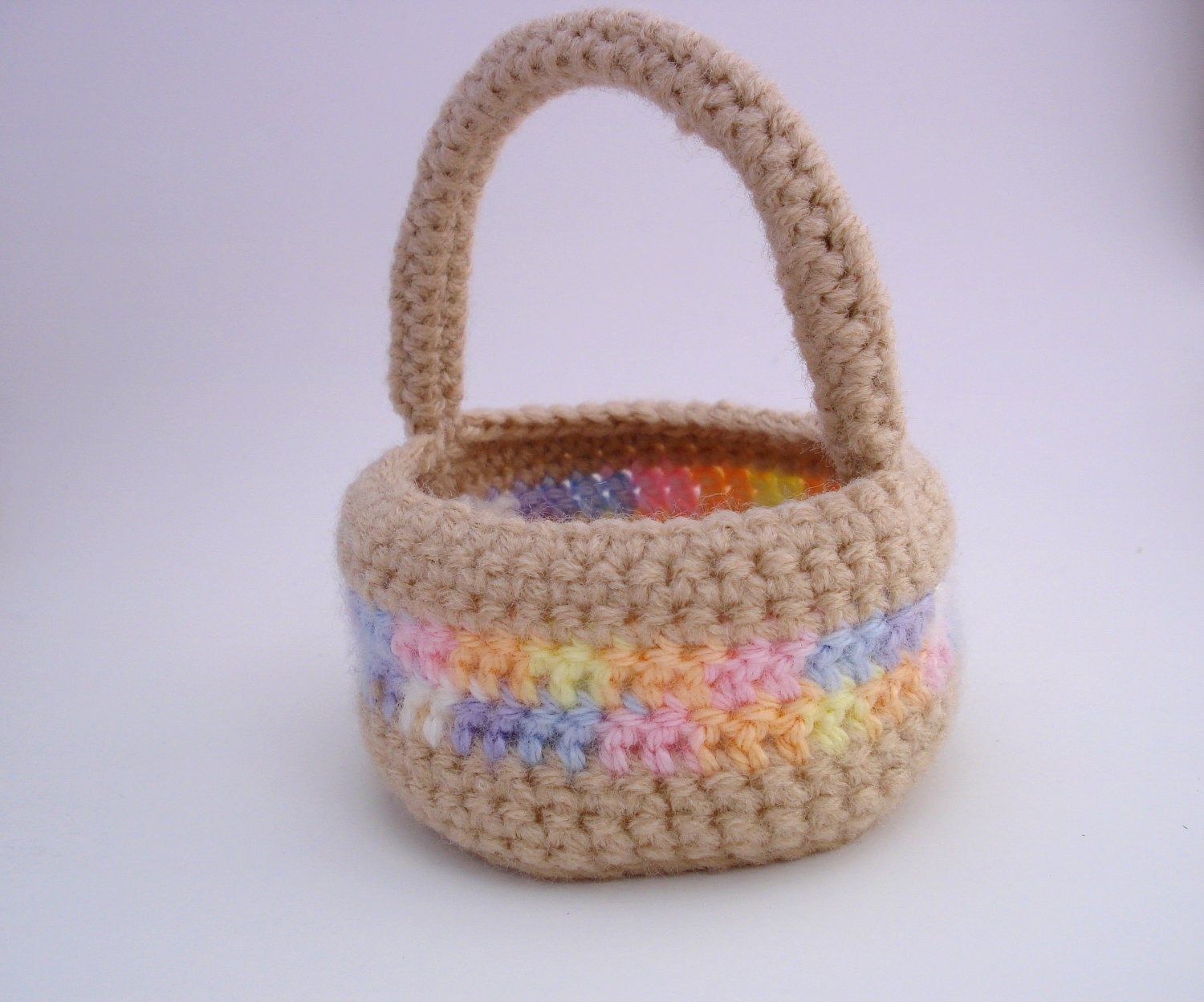 Crochet Easter Basket : Crocheted Easter Basket Multi Band by paigemoore88 on Etsy