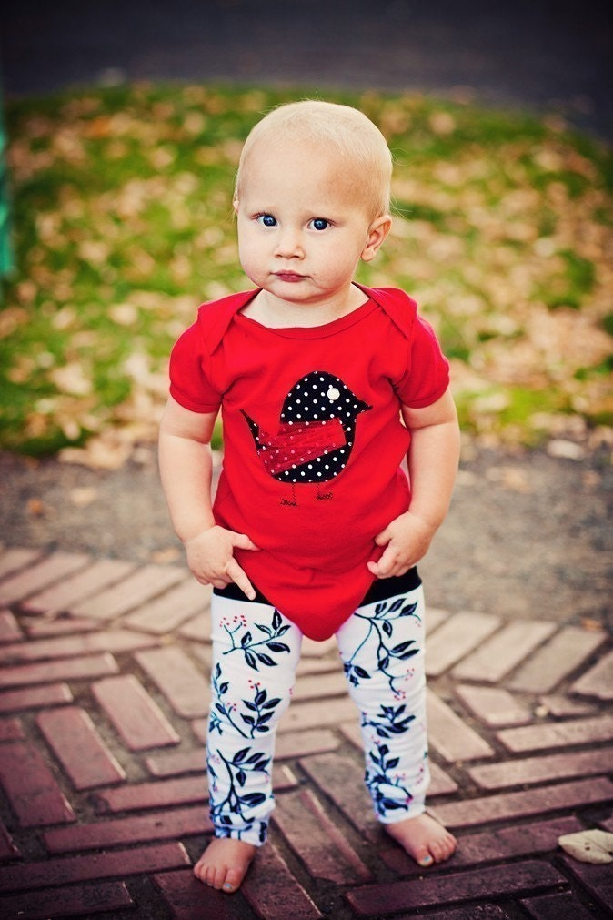 MAMA RUNS WITH SCISSORS--POLKA DOT CHIC-A-DEE--2 PIECE APPLIQUED ONESIE AND LEG WARMER COMBO--YOUR CHOICE OF SHORT or LONG SLEEVE ONESIES IN RED, WHITE OR BLACK