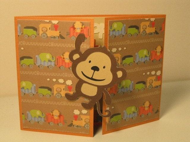 Monkey Happy Birthday Peek a Boo Card