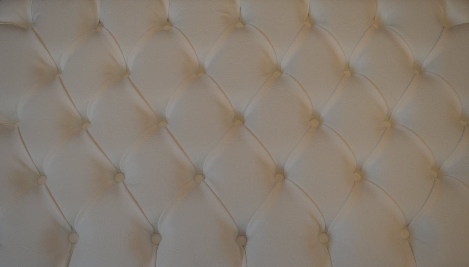 Image of Fix To Wall Double Size Deep Buttoned Headboard in Premium White Faux Leather