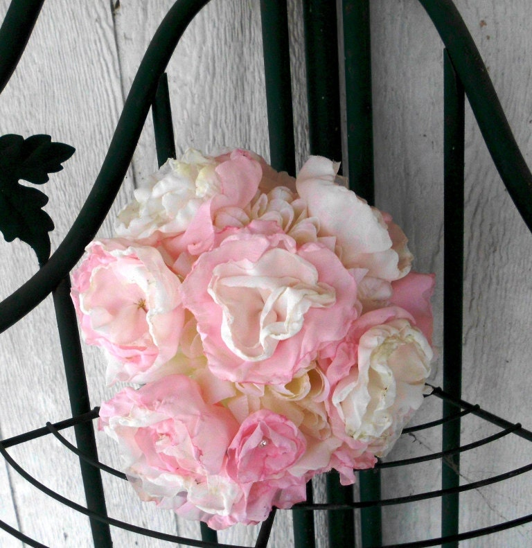 Wedding Bouquet, Chiffon Peonies, Bridal, Vintage, Baby Pink and Ivory, Fabric flower Bouquet