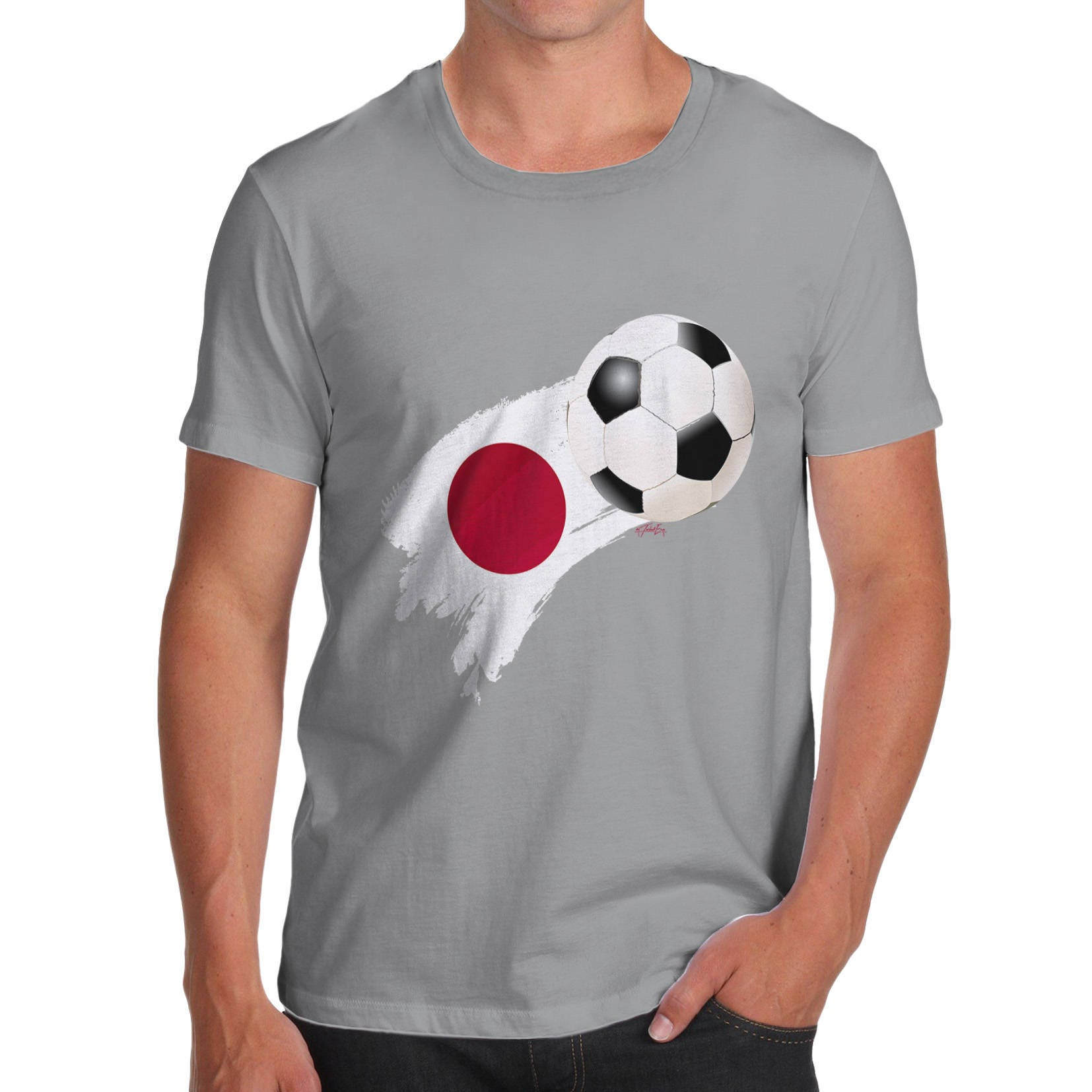 Japan Football Flag Paint Splat Mens Funny  100 Cotton TShirt Crew Neck Comfortable and Soft Classic Tee with Unique Design
