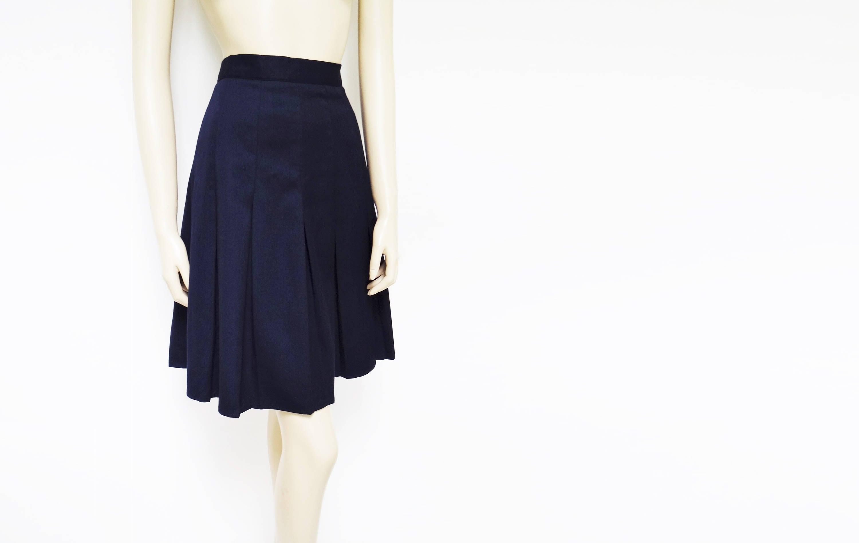 Free Shipping Vintage Pleated Skirt PinUp Knee Length Navy UK16 Short Skirt Vintage Clothing