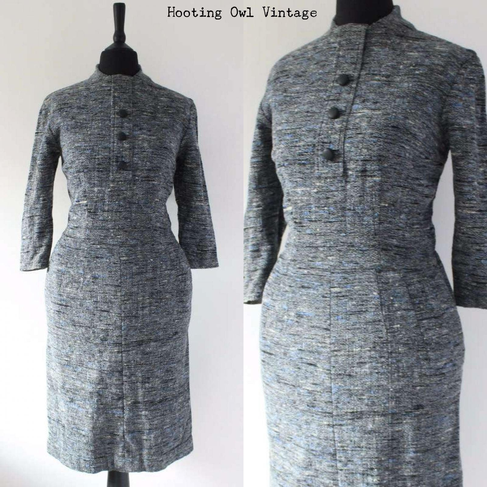 1950s Original Dress 50s Wiggle Pencil Rockabilly Dress Classic Wool Casual Day Dress Grey Flecked Fabric UK Small S 8