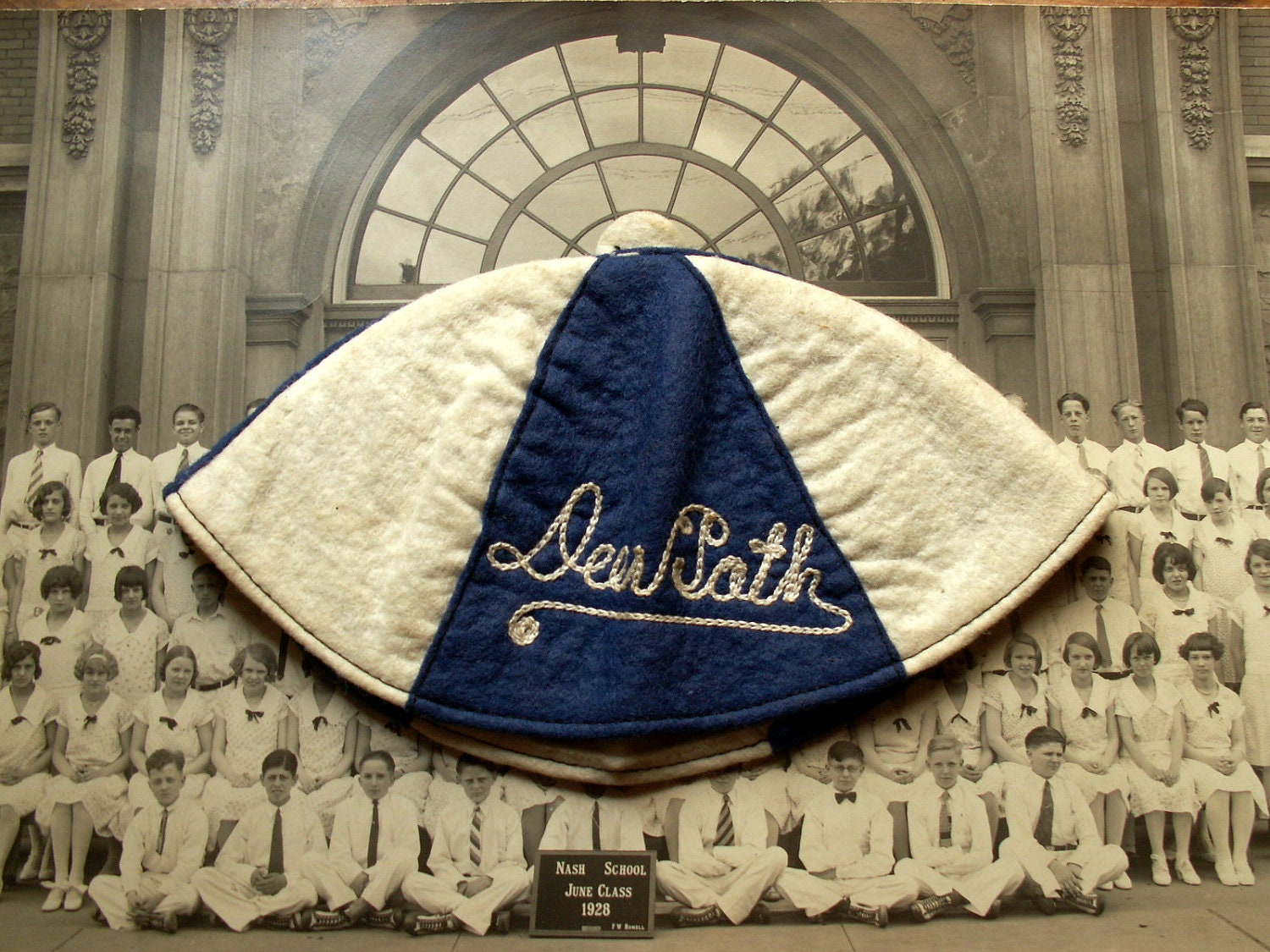 Vintage Deerpath Middle School White and Blue Beanie - Lake Forest, Illinois - CopperAndTin