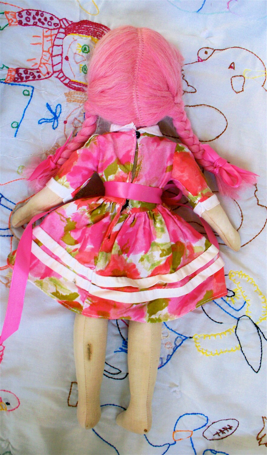 Rare Vintage Kitsch 1950s Pink Haired Big Eyed Sawdust Filled  Jointed Polish Doll