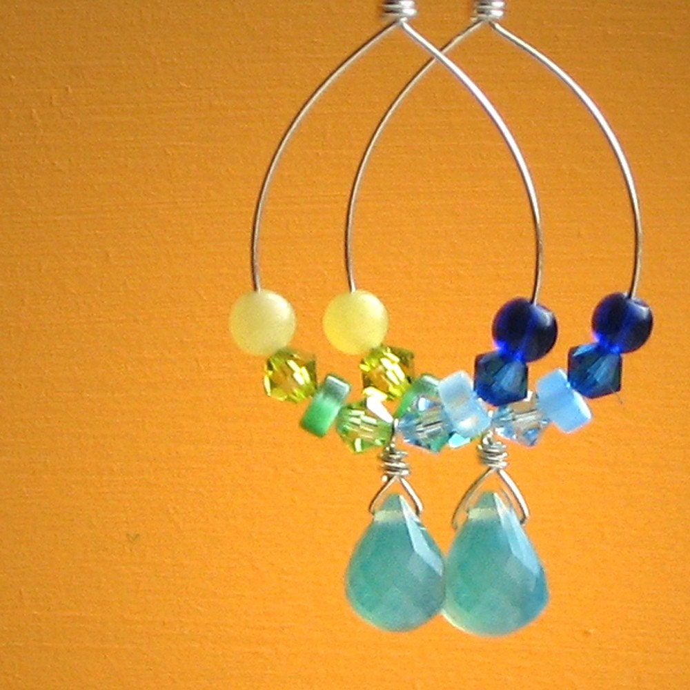 Hoop Dreams, Handmade Sterling Silver Hoops, Sea Blue Chalcedony Briolettes, Olive Jade, Aquamarine & Peridot Swarovski Crystals