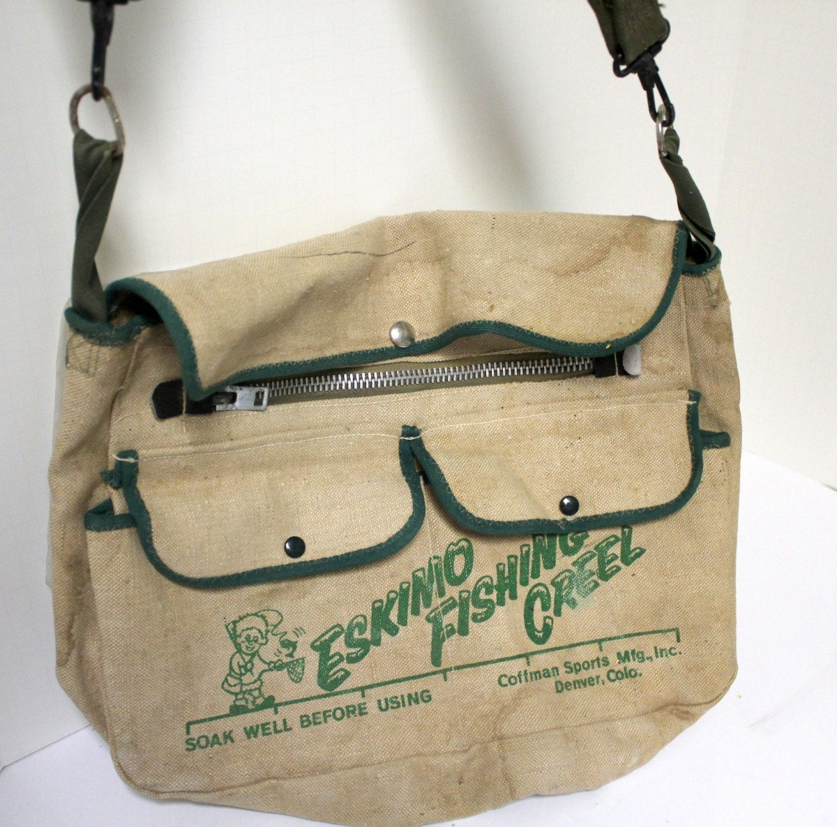 vintage canvas eskimo fishing creel bag shoulder by