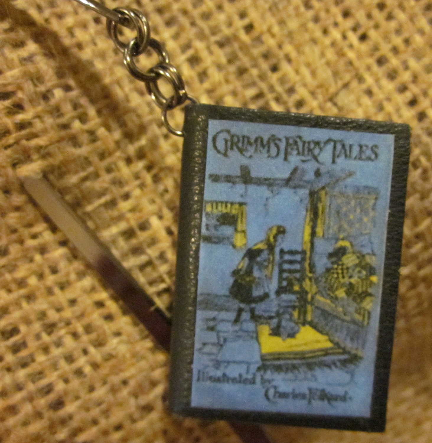 Miniature Leather Book Bookmark - Grimm's Fairy Tales - Made to Order - TheBookCellar