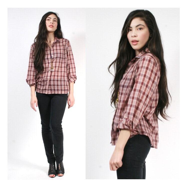vintage plaid button up shirt xs sx