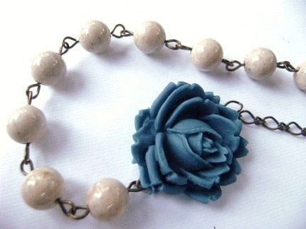 Handmade Necklace Denim Blue Rose and Riverstone