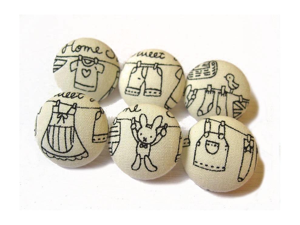 6 Малые Ткань Кнопки Set - Сладкий Прачечная