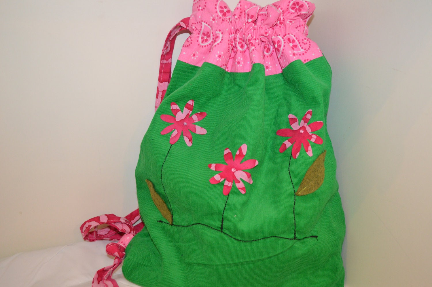 Pink and Green Daisy Library Ballet Bag